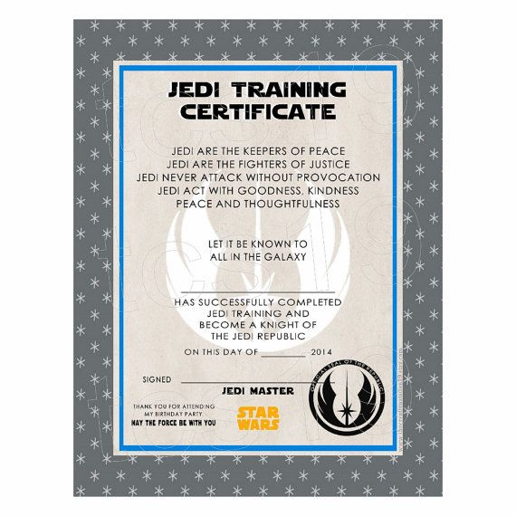 Printable training certificate galaxy star wars for Star wars jedi certificate template free
