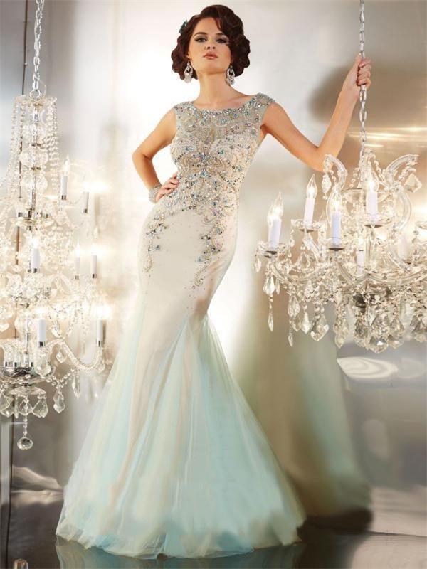 f41aeb02803c7 2016 Modest Designer Mermaid Beaded Celebrity Evening Dresses Crystals Sexy  Royal Blue Gold Green Evening Dress Sheer Back Formal Prom Dress Dress  Formal ...