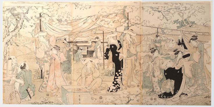 "tagawa Utamaro (1753-1806), ""Banquet under cherry trees"". Triptych of prints, 1790-1791 c."