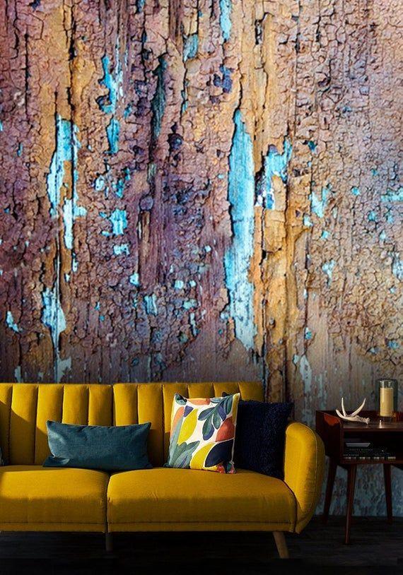 Wallpaperold Painted Wood Texturevinylself Adhesive Etsy Painted Wood Texture Wood Texture Painting On Wood