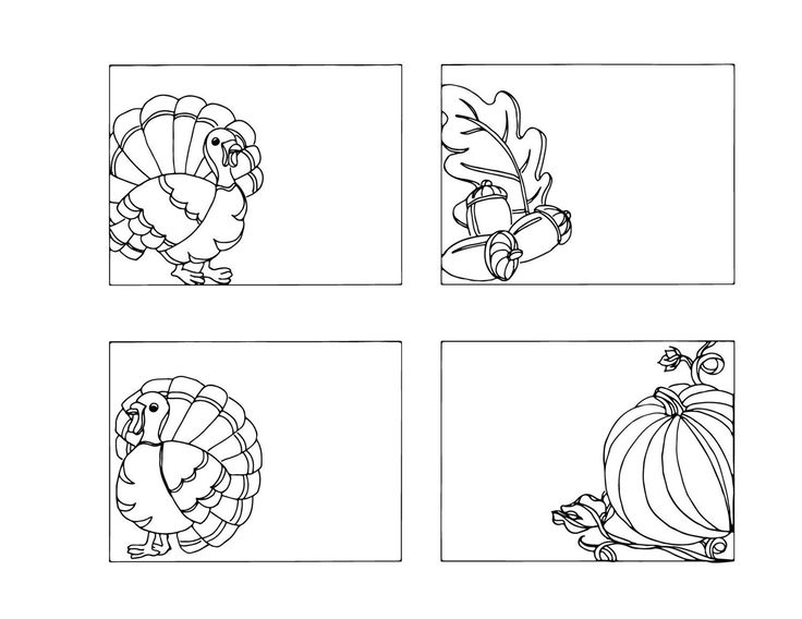 DIY Thanksgiving Place Cards Color Your Own Name Table Decorations Holiday Crafts Holders Adult Coloring Page Turkey