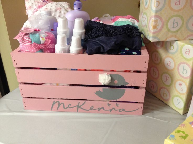 Baby Crate. For My Sissyu0027s Baby Shower! Painted A Cheap Crate From Michaels  Grey