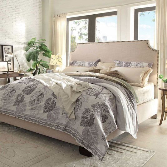 Rich with designer detailing the Alicante features a transitional design with notched corners and a row of hand applied nailhead trim that contrasts beautifully against the linen upholstery. The fabric covered side rails and footboard continue the luxurious look. Adding function, the mattress can...