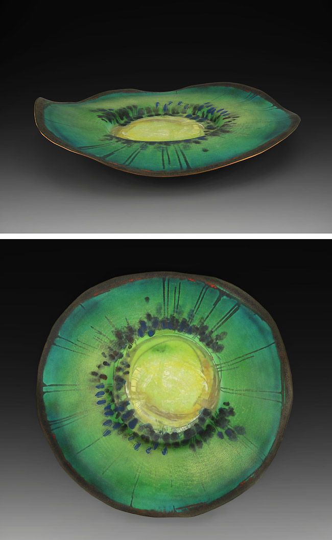 Jan Harrell Kiwi Plate, 2011 Enamel on copper 2 7/8 x 15 3/8 x 15 3/8