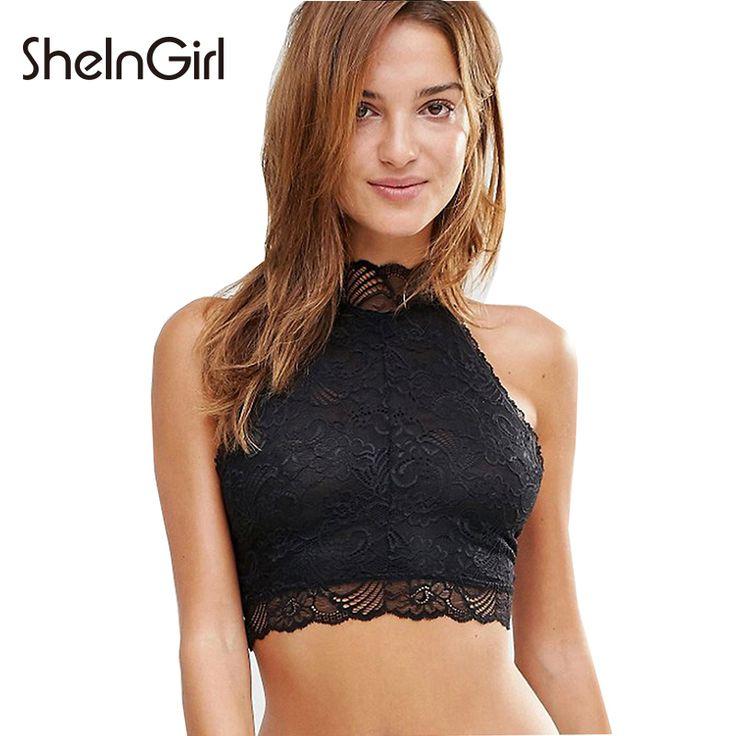 SheInGirl 2017 여름 섹시한 속옷 여성 블랙 쉬어 레이스 브래지어 거북 목 슬림 Bralette 여성 민소매 여성 브래지어