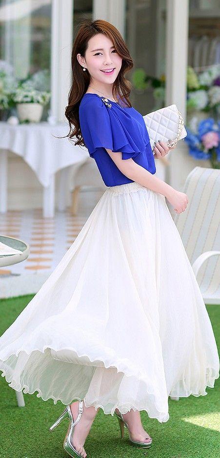 Summer Chiffon Maxi Asian Skirt YRB0001