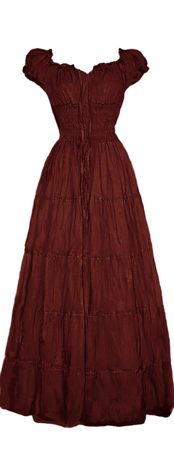 I-D-D Renaissance Peasant Wench Pirate Faire Women 's Gown Boho Hippie Sun Dress  Burgundy S/M