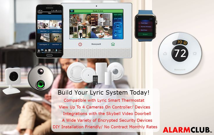 The Honeywell Lyric security system is the greatest security and home automation system Honeywell has ever released. This image is to show you the array of compatible devices you can have when you get a DIY Lyric security system. http://www.alarmclub.com/honeywell-lyric-security-systems.html #honeywell #lyric #security #alarm #monitoring #diy #doityourself #alarmclub #skybell #thermostat #wireless