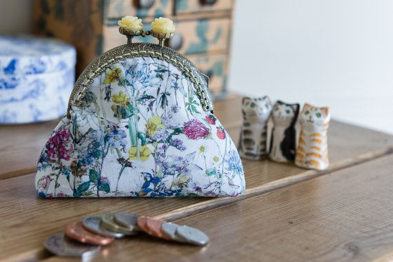 Coin purse made with British Wild Flowers by CrimsonRabbitBurrow