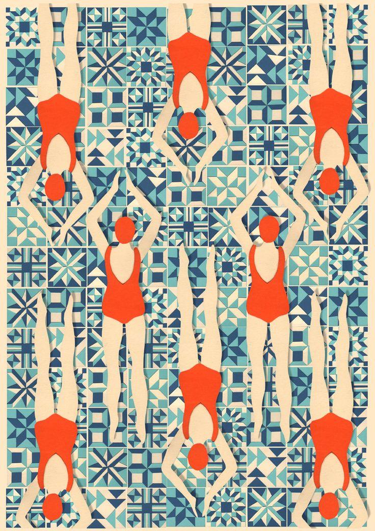 Art Deco imprimir / / nadadores de impresión / por LouTaylorStudio