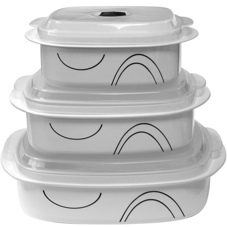 Simple Lines 6 Piece Microwave Cookware & Storage Set I