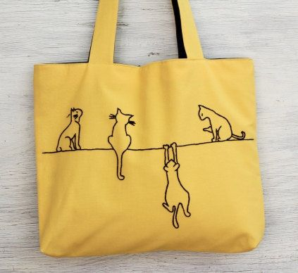 yellow bag - tote bag - cats yellow embroidery embroidered hand sewn bag with girl eco-friendly reusable bag