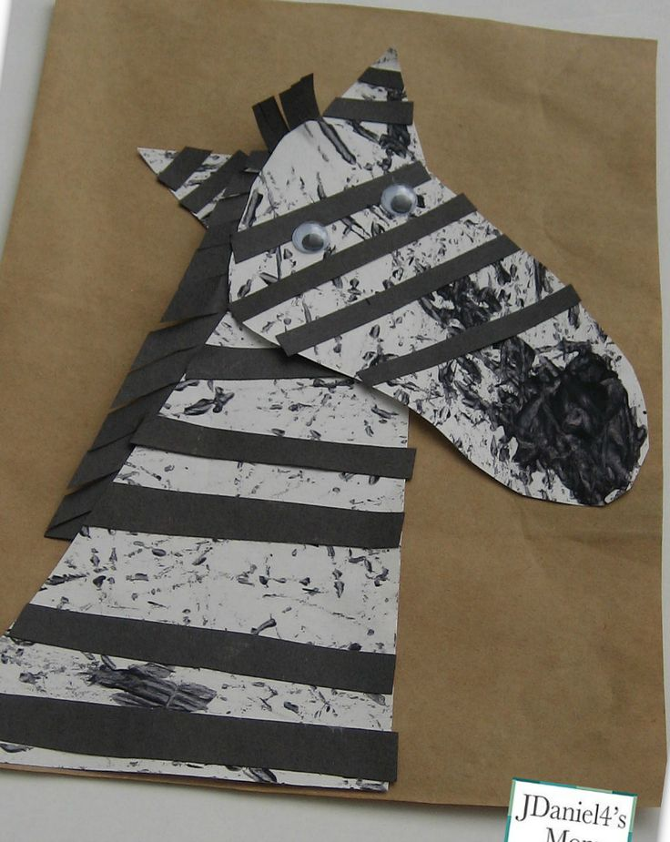 Projects for Kids- Marble Painted Zebra #kids #crafts