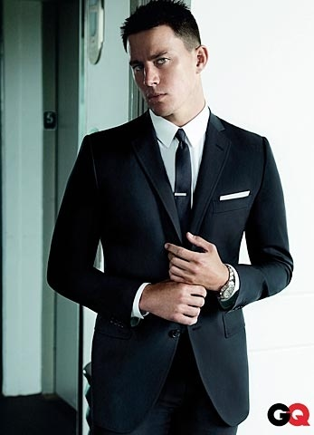 Channing Tatum in Two Button Black Shadow Tuxedo