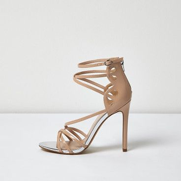 nude patent strappy heels by River Island. Patent upper Caged design Zip back fastening Skinny heel Heel height 11cm