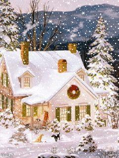 Petite maison sous la neige - Logo animé Gratuit
