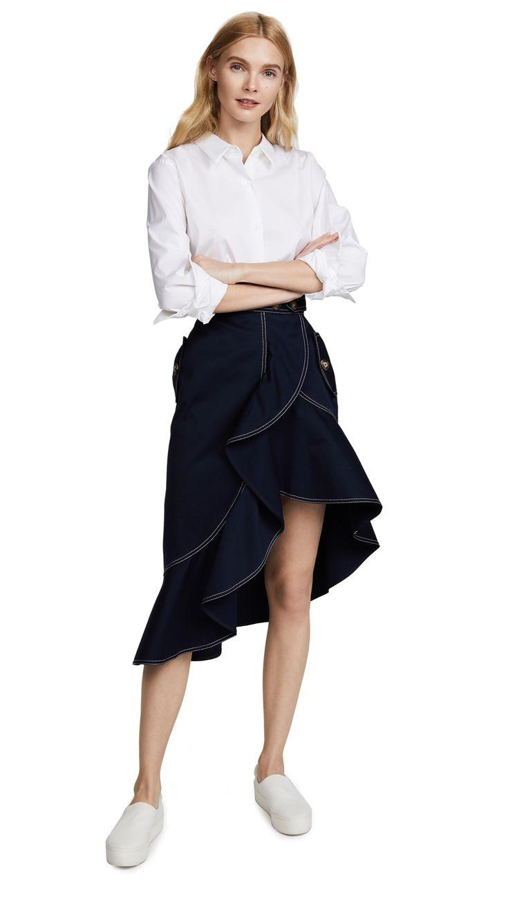Self Portrait Flounced Canvas Skirt | SHOPBOP