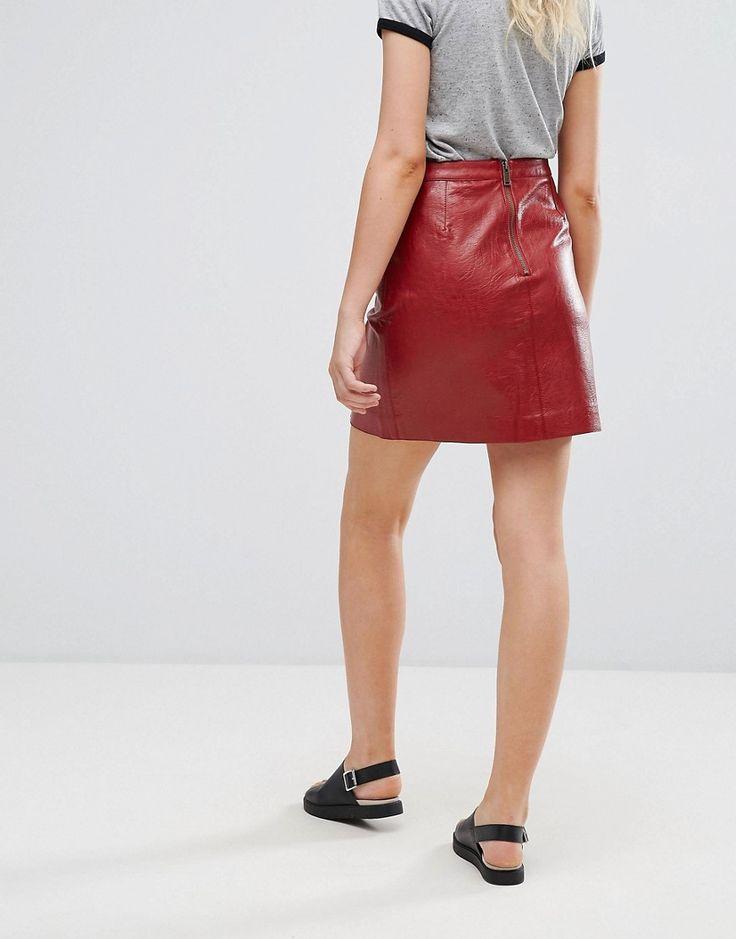 Pepe Jeans Berta Faux Leather Mini Skirt - Red