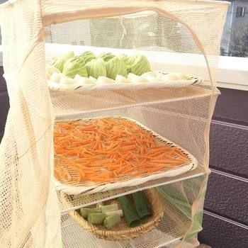 広いベランダやお庭がなくても、このように市販のネットなどに切った野菜を入れて干しておくだけで「干し野菜」が完成します。