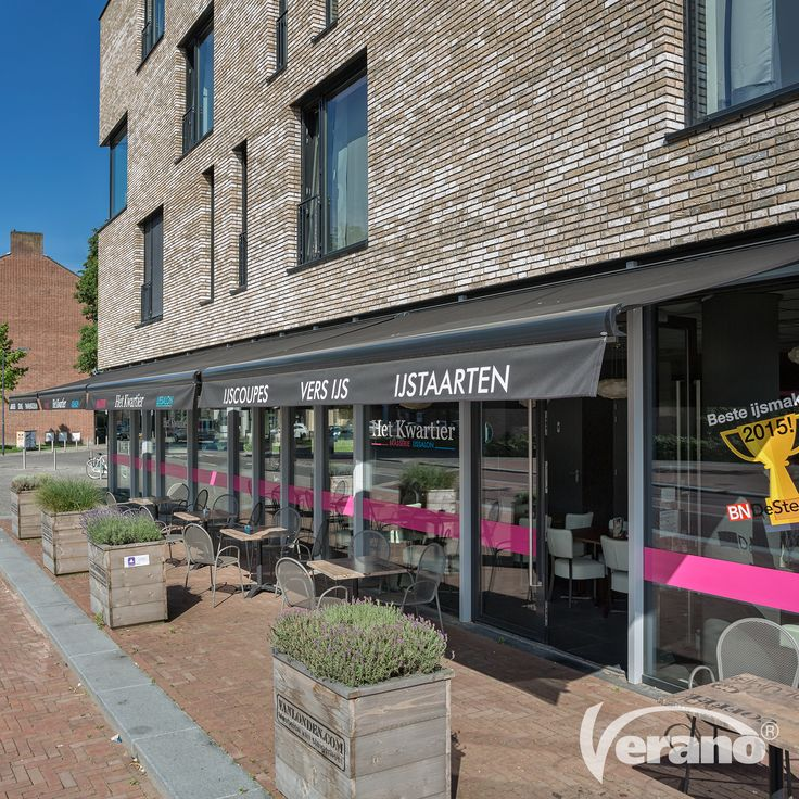 De #zonneschermen van Verano® maken de uitstraling van een winkel- en/of horecapand helemaal af!