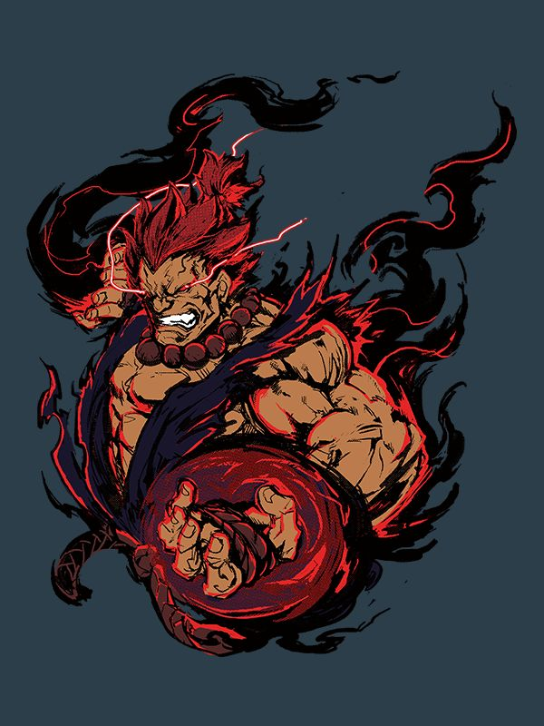 Satsui no Hado Warning: This design is not for the weak. Only the strong are worthy of this Akuma shirt! Channeling the dark hadou, he is truly the Supreme Master of the Fist! The power-hungry Street
