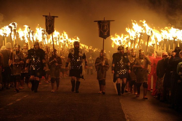 Procession | Up Helly Aa » Last Tuesday in January in Lerwick, Scotland, the Up Helly Aa festival is Europe's largest fire festival and includes the burning of a full-scale Viking ship. #festivalsaroundtheglobe