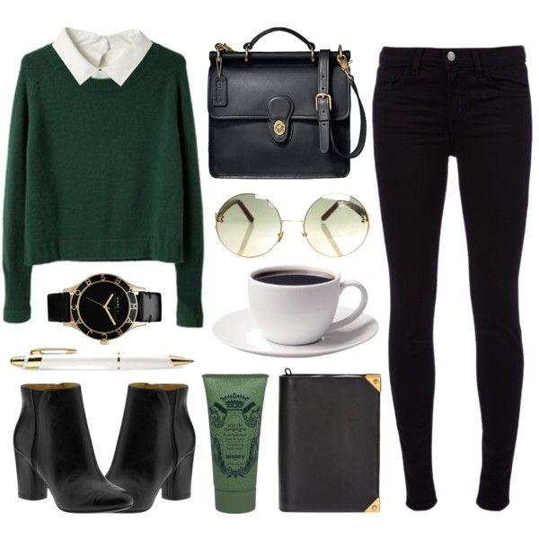 jean negro, camisa blanca, sweater verde, botas negro