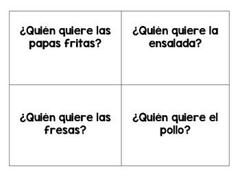 This is an oral communicative activity in Spanish for students to practice naming foods, as well as the stem-changing verbs Tener, Querer, Preferiri, and Pedir.-I have included the word doc in case you want to change any of the foods or the verb. If you like it as is, print the PDF.To use:-Pass out a card to each student that has a picture of a food on one side and the question to ask the next student on the other side.