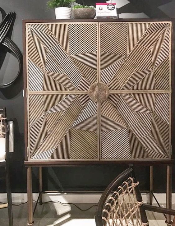 Palecek's Callahan Cabinet was inspired by an antique piece from Kirk Nix's library catalogue. After sketching new life to the piece with geometric forms from organic materials this masterpiece was born! (IHFC- D202)