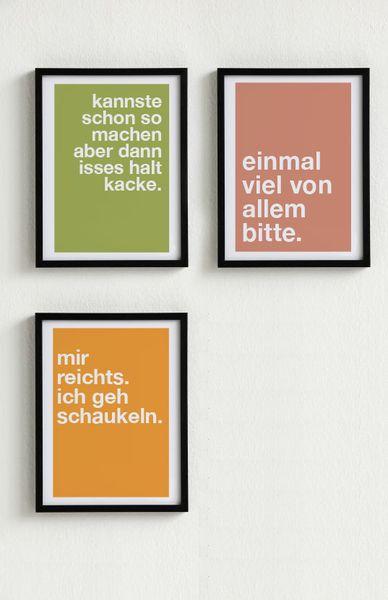 Mini-Poster-Set. 3 Poster Typo nach Wahl von PAP-SELIGKEITEN – Schönes auf Papier auf DaWanda.com