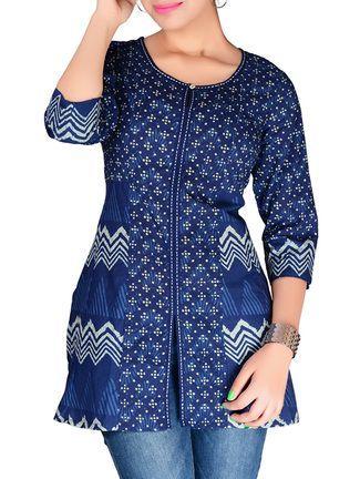 Buy Jaipur Prints Indigo Block Print Style Short Cotton Kurti Online, , LimeRoad