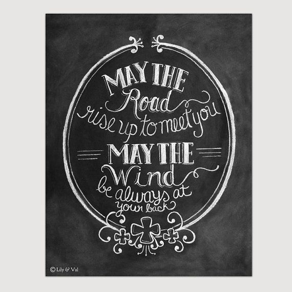 "St. Patricks Day - Irish Blessing Print - ""May The Road Rise Up To Meet You"" Chalkboard Art - 11x14 Print - Chalk Art"