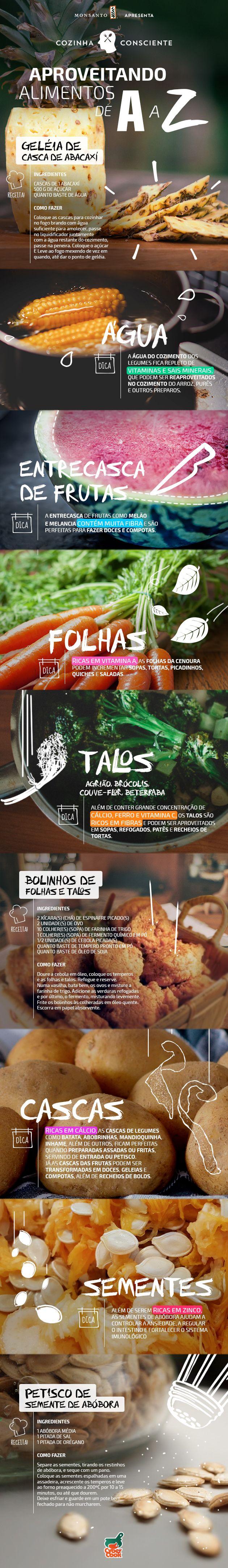 Nada de desperdício! Veja um guia ilustrado de como aproveitar ao máximo seus alimentos! #tips #dicas #food #cozinhaconsciente