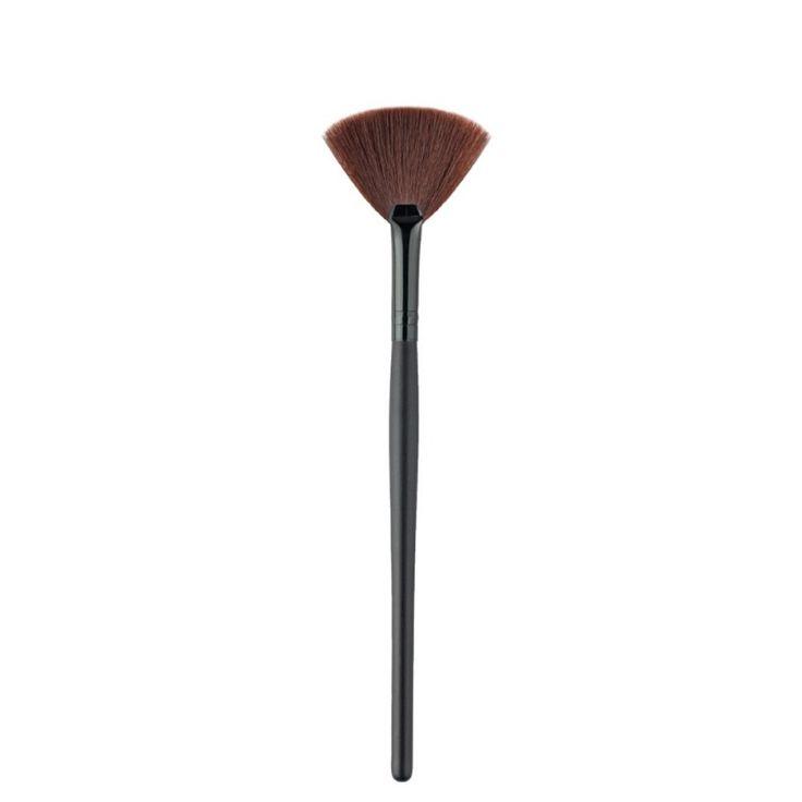 1 Pz Pennello A Forma di Ventaglio Nero Manico In Legno Capelli Sintetici Spazzole Cosmetiche di Trucco Attrezzo di Bellezza