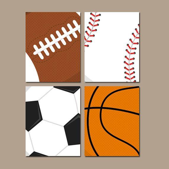 SPORT arte della parete, Baby Boy vivaio ragazzo camera da letto tela o stampe palle calcio Football Baseball Basket Set di 4 fratelli di camera da letto del ragazzo
