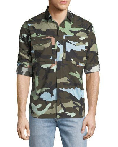 Camouflage Button-Front Cargo Shirt