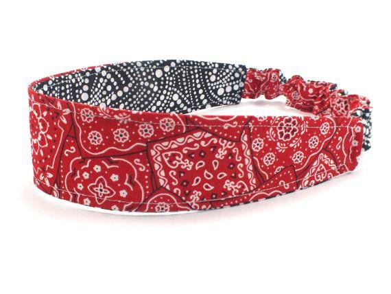 Red Bandanna Headband Fabric Headband Patriotic by PICKLEBUG
