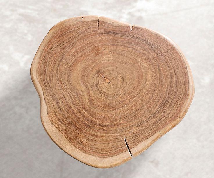 Beistelltisch Live-Edge 42x42 cm Akazie Natur massiv Möbel Tische Beistelltische