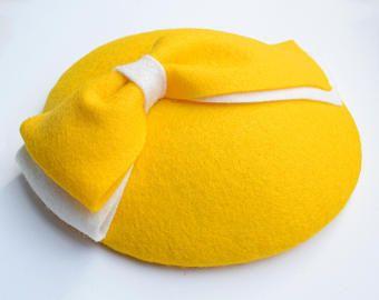Yellow Fascinator - Wedding Hat, Ladies Hat, Occasion Hat, Mini Hat, Felt Hat, Tea Party, Races, Percher Hat, Yellow Accessories