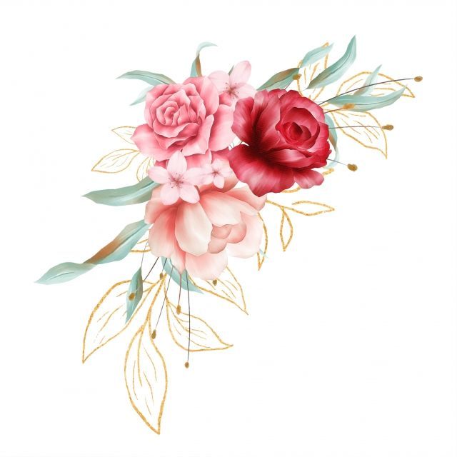 Beautiful Watercolor Floral Border Decoration With Golden ...