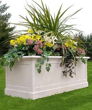 More than 5 ft. long, this Promenade Trough Planter showcases your favorite flowers while providing an impressive planting area.
