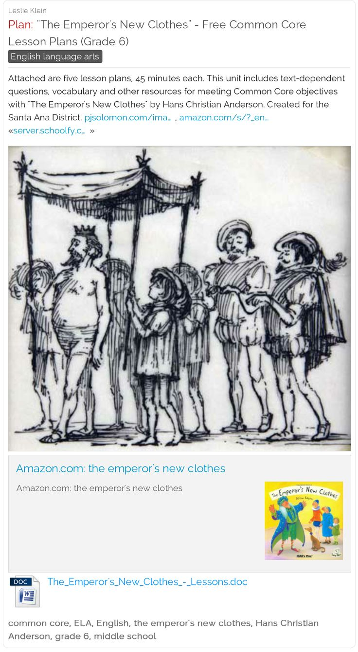 The Emperor's New Clothes Primary Resources