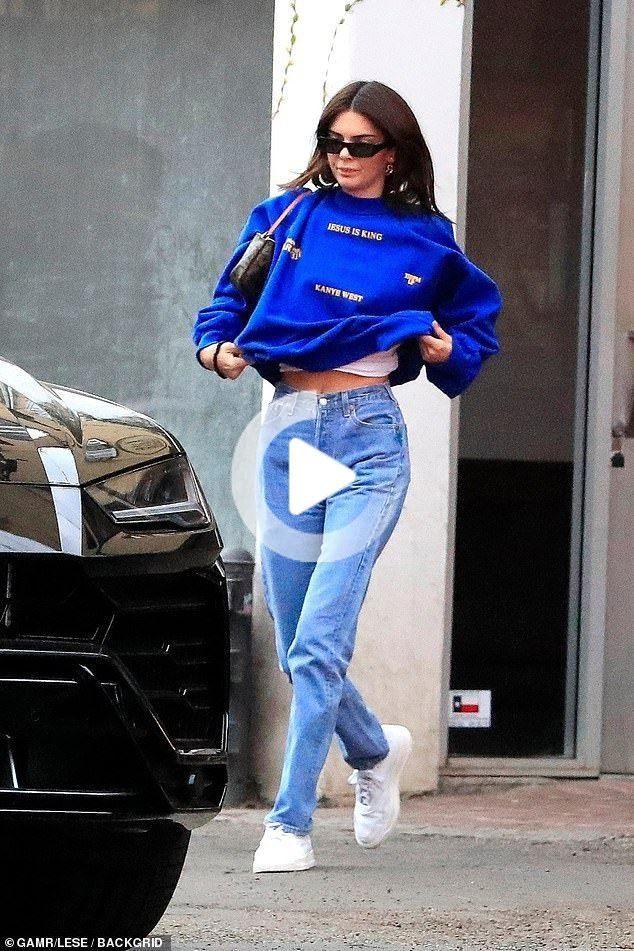 Kendall Jenner Khloe And Kim Kardashian Keep It Casual At Kanye West S Sunday Service In La All In 2020 Kendall Jenner Kanye West Celebrity Outfits