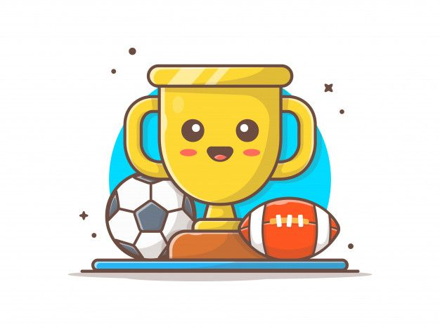 Cute Trophy With Soccer Ball And Football Icon Illustration In 2020 Football Icon Soccer Ball Line Art Design