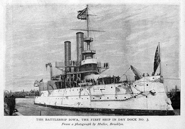 Us Navy Ships 1898 | 1898 US Naval History - The Battleship USS Iowa, the first ship in Dry ...