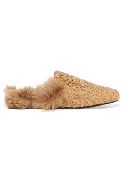 cb191e0299af Gucci - Princetown Horsebit-detailed Shearling Slippers - Beige ...