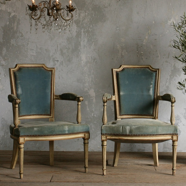 One of a Kind Antique Armchairs Petite Pale Cream Set of 2 from @Sarah Nasafi Grayce #laylagrayce