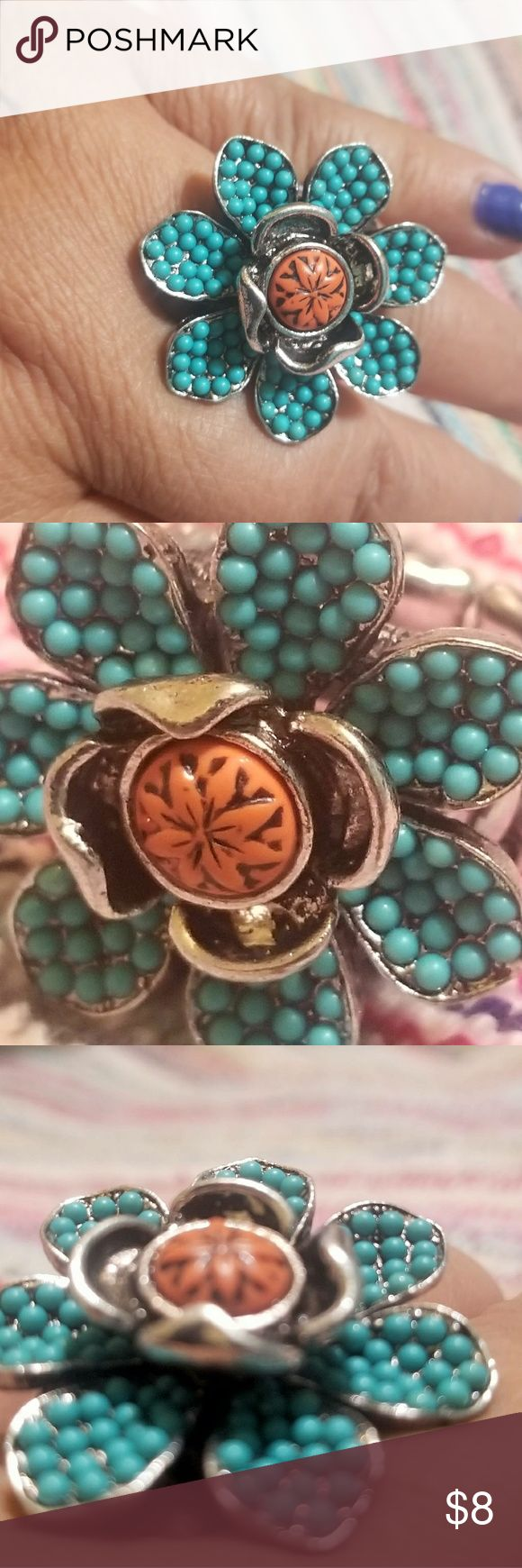 "Cute Blue and Orange Floral Ring Floral ring orange center with blur torqoise beaded petals. Stretch Band 1 1/4 "" diameter Jewelry Rings"