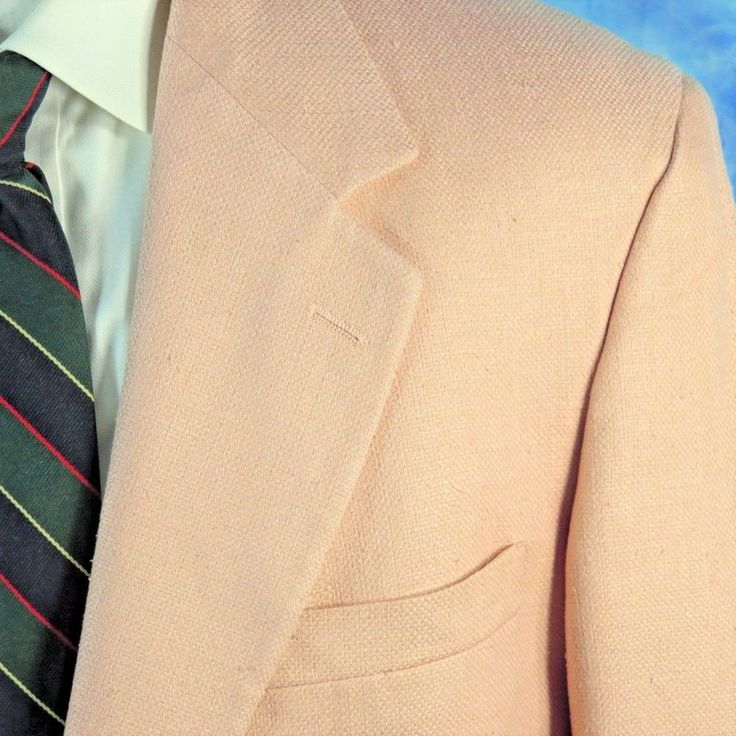 Vintage Brooks Brothers Mens 42R PINK Hopsack Silk ICONIC Blazer Jacket USA NICE #BrooksBrothers #TwoButton