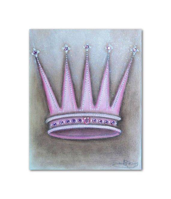 Princess Pink Crown Baby Girl Nursery Princess Wall Art